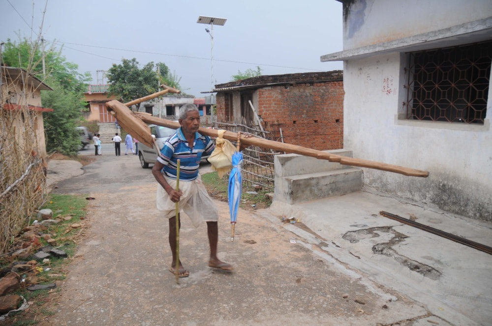 <p>With monsoon set in,farmer is a busy professional now.One of them was spotted returning home at Semal Beda village near Patratu,near Ranchi.</p>
