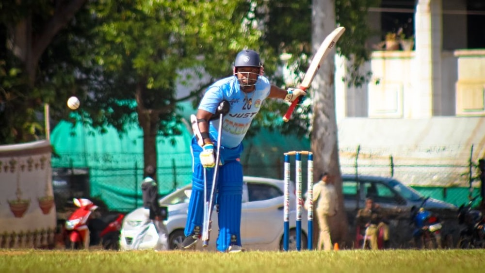 <p>Indian Captain Mukesh Kanchan play a shot against Nepal during first day of international T-20 Divyang Cricket Tournament series – 'CCL Cup'organised by Disabled…