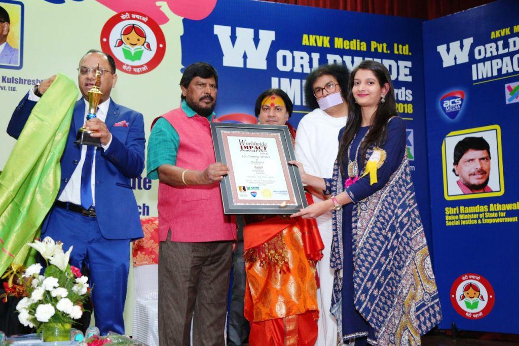 """<p>मारवाड़ी कॉलेज रांची की छात्रा, वर्तिका को """"वर्ल्ड वाइड इंपैक्ट अवार्ड 2018"""" ने दिल्ली स्थित रुस एम्बेसी में उनकी काव्य संग्रह """"अब लौट चलें अनंत की ओर""""…"""