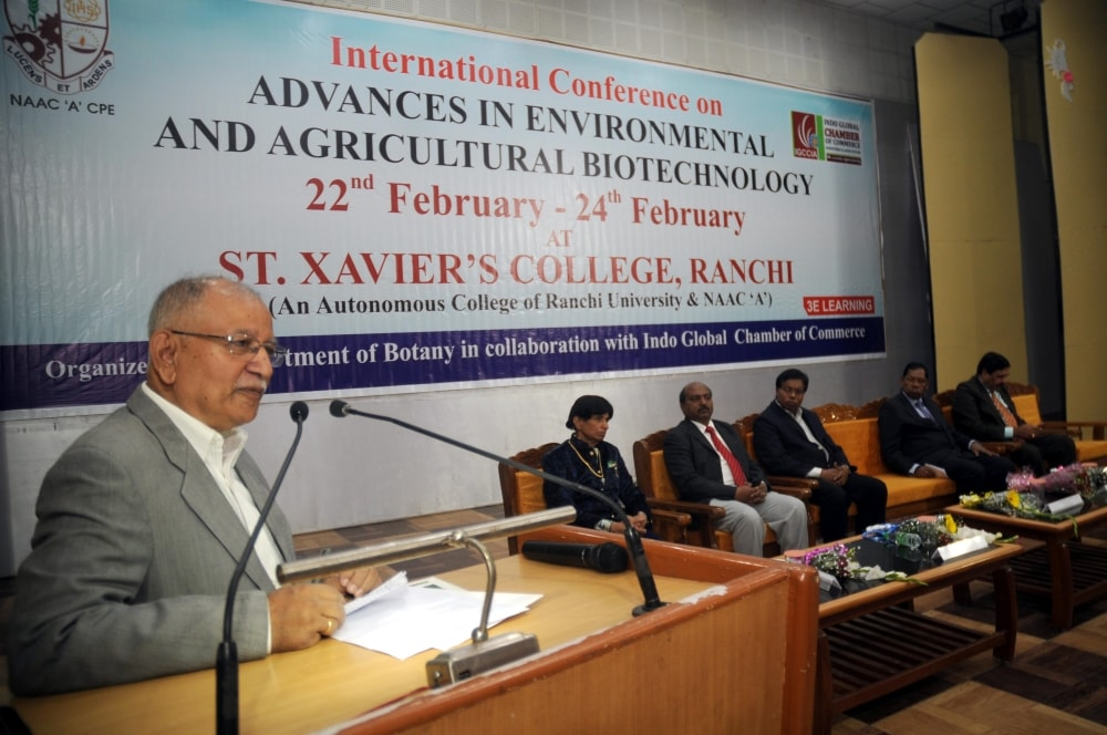 <p>Ranchi University Vice Chancellor Dr. Ramesh Kumar Pandey addresses a gathering during International Conference on Advances in Environmental and Agricultural Biotechnology at St.…