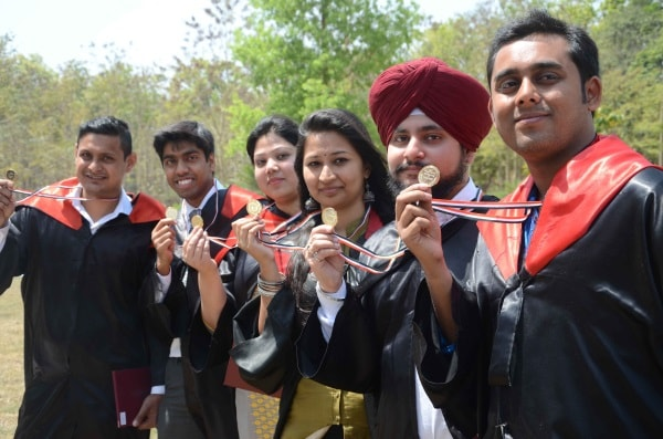<p>Gold medalists showing their medals during their 27th convocation of Birla Institute of Technology Mesra near Ranchi on Friday.</p>