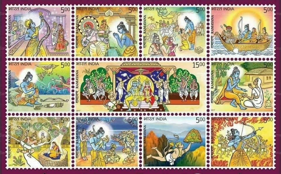 <p>Ramayan stamp released by PM on 24 Jul. So beautiful. Our greatest epic finally gets some recognition.</p>