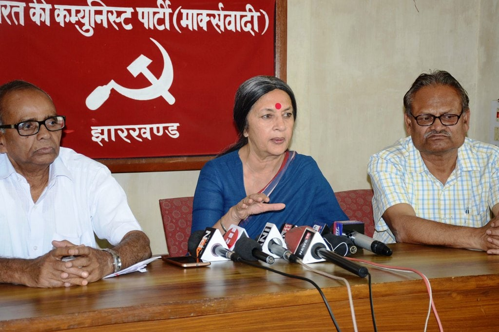 <p>Politburo member Brinda Karat addressing a press conference in Ranchi on Wednesday. </p>