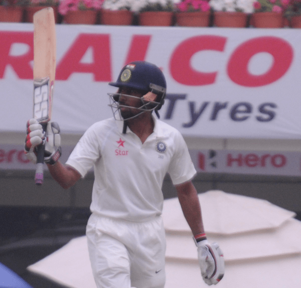 <p>Indian batsman W Saha acknowledging the crowd after completing his half century against Australia during 4th day of 3rd test match at Jharkhand State Cricket Association (JSCA)…