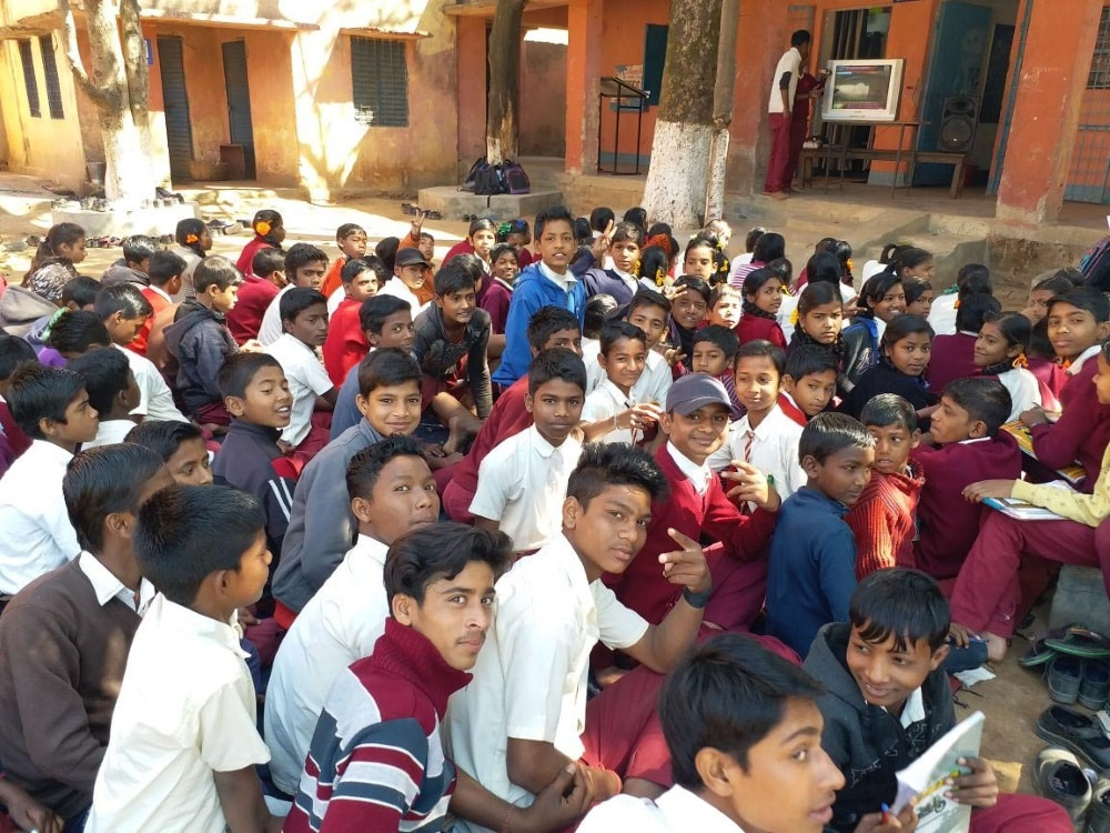 "<p>Students view a broadcast of Prime Minister Narendra Modi's talks on ""Pariksha Per Charcha"" at a Government school Pandra in Ranchi on Friday. </p>"