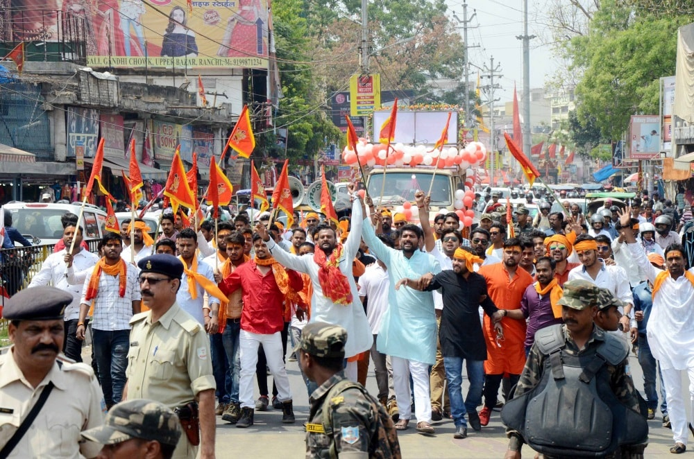 <p>People participated in a Hanuman Jayanti procession at MG Road in Ranchi on Saturday. </p>