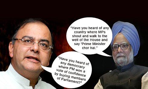 "Dr Manmohan Singh-Arun Jaitley on ""PM Chor Hai"""