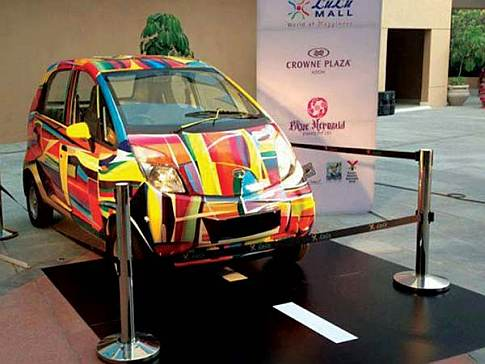 Online auction of hand painted Tata Nano