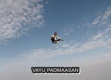 Yoga moves up in sky via Vayu Padmaasan
