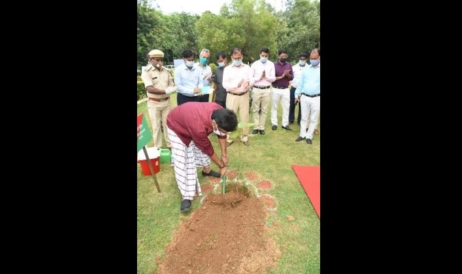 world-adivasi-day-cm-hemant-soren-plants-a-tree-at-nilamber-pitamber-park